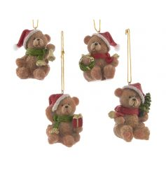 An assortment of 4 traditional hanging bear decorations with winter clothes and festive gifts.