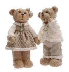 An assortment of 2 cute cream standing bear ornaments with a touch of sparkle.