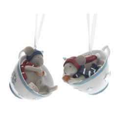 An assortment of 2 unique and completely adorable mice in teacups hanging decorations.