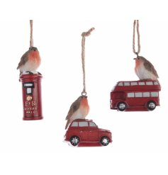 A mix of 3 charming robin decorations perched on a car, postbox or traditional bus.