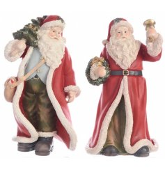 A mix of 2 traditional father Christmas ornaments. A classic item for the home this season.