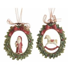 A mix of 2 ornate wreath hanging ornaments with a traditional Santa and Rocking Horse figure.