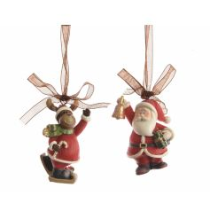 A mix of 2 cute Reindeer and Santa hanging decorations with festive gifts and ribbon to hang.