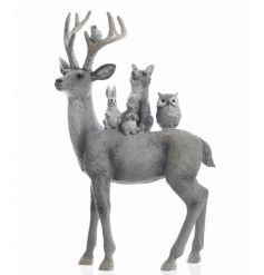 An enchanting reindeer ornament with woodland creatures. A chic decoration for woodland/white winter wonderland themes