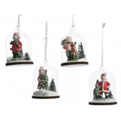 A mix of 4 hanging cloche ornaments, each with a charming winter scene with children.