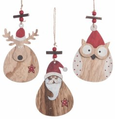 A mix of 3 nordic style hanging ornaments in cute Owl, Reindeer and Santa designs.