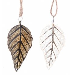 An assortment of 2 gold and luxe white skeleton leaf hanging decorations. A chic addition to any festive tree.