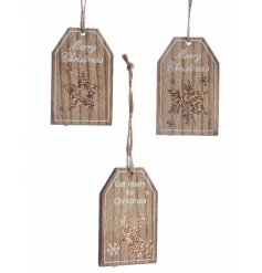 An assortment of 3 wooden hanging tags in glitter star, snowflake and reindeer designs.