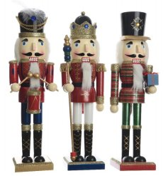 A mix of 3 traditional nutcracker decorations. An enchanting addition to any home this season.