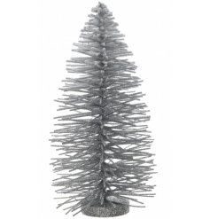 A contemporary silver glitter Christmas willow tree decoration.