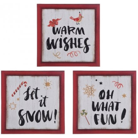 Framed Christmas Sign, 3 Assorted