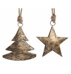 A distressed gold metal tree and star shaped 3D decoration with a chunky rope hanger.