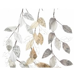 An assortment of 3 glitter leaf garlands