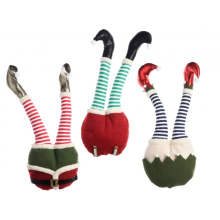 a mix of 3 fun and fabulous bendable elf legs perfect for displaying in christmas - Elf Legs Christmas Decoration