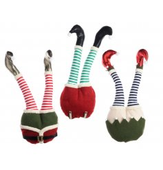 An assortment of 3 fabulous elf legs in brightly coloured red and green designs.