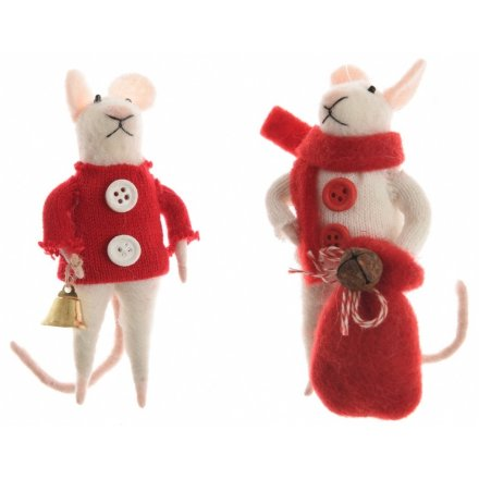 an assortment of 2 felt mice decorations each is dressed in a winter outfit and