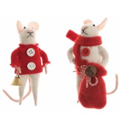 An assortment of 2 adorable felt mice with a gold bell and festive sack accessories.