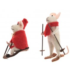 An assortment of 2 adorable felt mouse decorations with red winter outfits and a sleigh or skis.