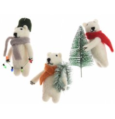 An assortment of 3 adorable felt polar bear decorations with lights, wreath or Christmas tree. Each has a colour scarf
