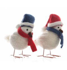 A mix of 2 adorable felt winter birds in red and blue assorted hats and scarves.