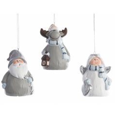 Charming blue and grey hanging Christmas figures including Santa, Angel and Reindeer designs.
