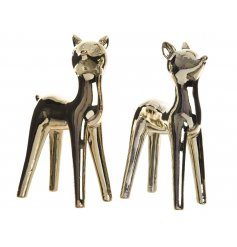 An assortment of 2 shiny gold reindeer figures. An artistic addition to any home this season.