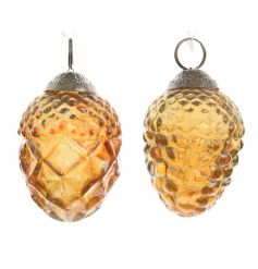 A mix of two ornate gold glass pinecone baubles, each with a decorative gold topper to hang.