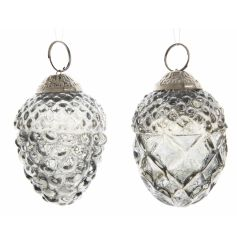 A mix of two stunning glass pinecone decorations with a decorative gold topper to hang from your tree.