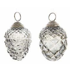 A mix of 2 vintage inspired glass pinecone decorations, each with a decorative gold topper to hang.