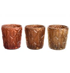 A mix of 3 woodland inspired glass t-light holders with a leaf pattern.