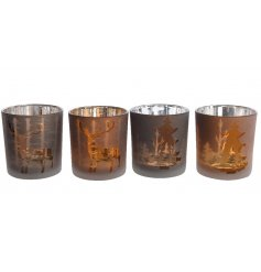 A mix of 4 copper and chocolate coloured t-light holders