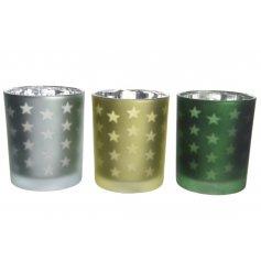 Eucalyptus, Pine Green and Olive Green matt t-light holders with a laser cut star design.