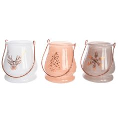 This assorted set of 3 candle holders have a new trendy geometric style behind them