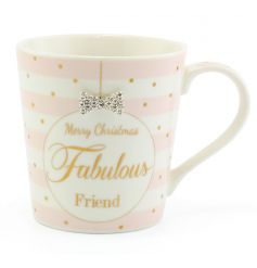A fabulous pink and white striped mug with a bow detail and a fabulous friend festive slogan. A great gift item.