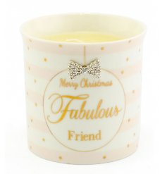 From the delicate range of 'Mad Dots' is this sweet festive themed Fabulous Friend Scented Candle