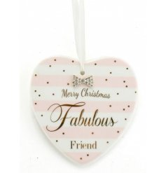 From the delicate range of 'Mad Dots' is this sweet festive themed Fabulous Friend Ceramic Hanging Heart