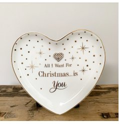 All I want for Christmas...Is You. A heart shaped trinket dish from the popular mad dots range.