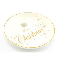 A glamorous ceramic trinket dish from the popular Mad Dots range. Complete with a star design and snowflake gem.