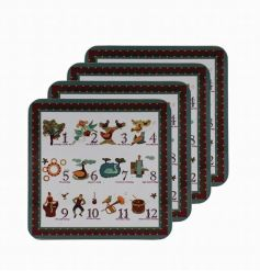 A set of 4 festive coasters with a traditional 12 days of Christmas design.