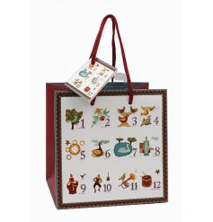 A festive traditional gift bag with the 12 days of Christmas. Comes with a matching gift tag.