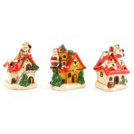 Light Up LED Santa On Roof, 3 Assorted