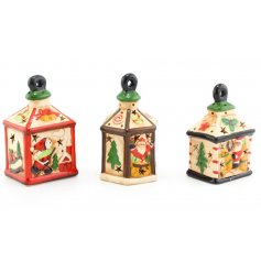An assortment of 3 LED Christmas scene Lantern decorations