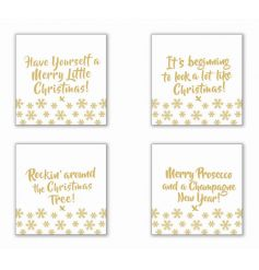 A set of 4 glamorous gold glass coasters, each with a festive slogan.