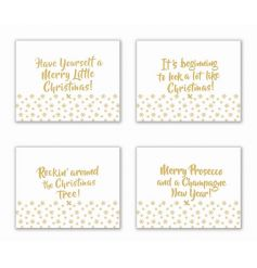 A set of 4 fabulous gold placemats, each with a festive slogan. A great gift item and festive tableware item.