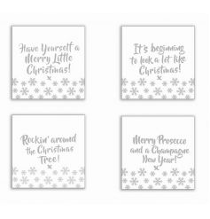 A set of 4 glamorous silver glass coasters, each with a festive slogan. A great gift item and home accessory.