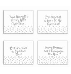 A set of 4 fabulous silver placemats, each with a festive slogan. A great gift item and festive tableware item.