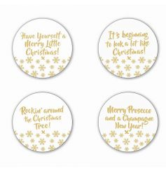 A set of 4 gold and glass festive slogan candle plates. A stunning gift and decorative item for the home.