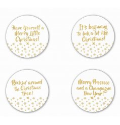 A set of 4 large gold and glass festive slogan candle plates. A stunning gift and decorative item for the home.