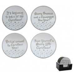 A set of 4 large silver and glass festive slogan candle plates. A stunning gift and decorative item for the home.