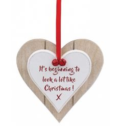 It's beginning to look a lot like Christmas! A festive and fabulous double heart plaque with red ribbon and bells.